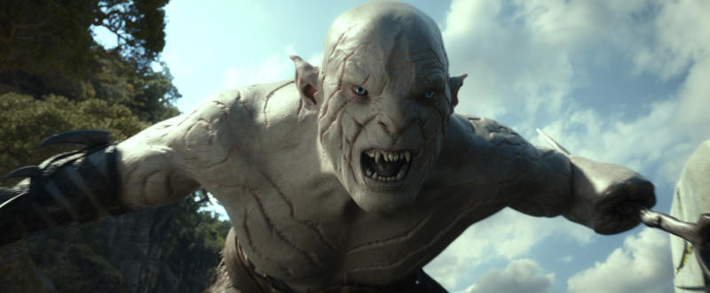"""FILE -This file film image released by Warner Bros. Pictures shows a scene from """"The Hobbit: The Desolation of Smaug."""" Per studio estimates Sunday Dec. 15, 2013, Warner Bros. """"Hobbit: The Desolation of Smaug"""" was No. 1 at the weekend box office with $73.7 million.(AP Photo/Warner Bros. Pictures)"""
