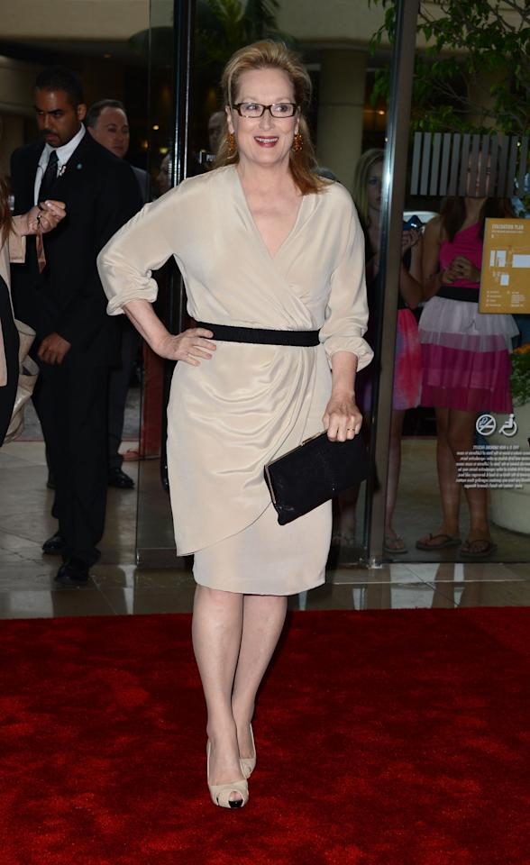 BEVERLY HILLS, CA - JUNE 12:  Actress Meryl Streep arrives at the 2012 Women In Film Crystal + Lucy Awards at The Beverly Hilton Hotel on June 12, 2012 in Beverly Hills, California.  (Photo by Frazer Harrison/Getty Images)
