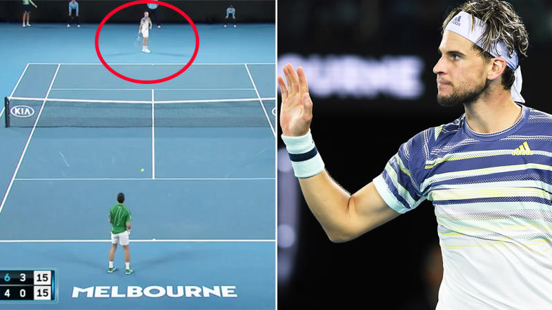 Dominic Thiem, pictured here producing a wonderful act of sportsmanship in the Australian Open final.