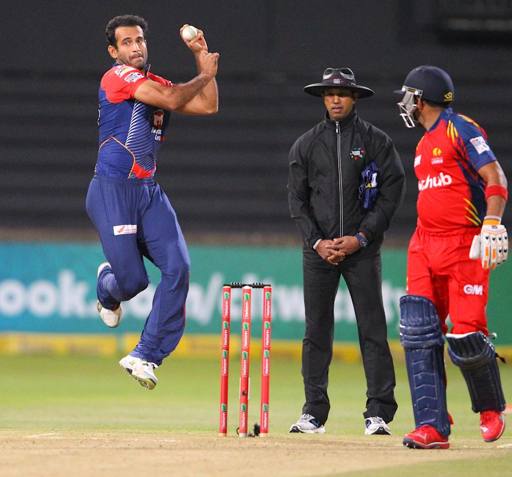 DURBAN, SOUTH AFRICA - OCTOBER 25: Irfan Pathan bowls during the Karbonn Smart CLT20 Semi Final match between bizhub Highveld Lions and Delhi Daredevils at Sahara Stadium Kingsmead on October 25, 2012 in Durban, South Africa. (Photo by Anesh Debiky/Gallo Images/Getty Images)