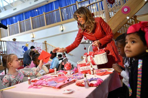 PHOTO: First lady Melania Trump exchanges valentines for Valentine's Day as she visits with children at the Children's Inn at NIH in Bethesda, Md., Feb., 14, 2020. (Mandel Ngan/AFP via Getty Images)