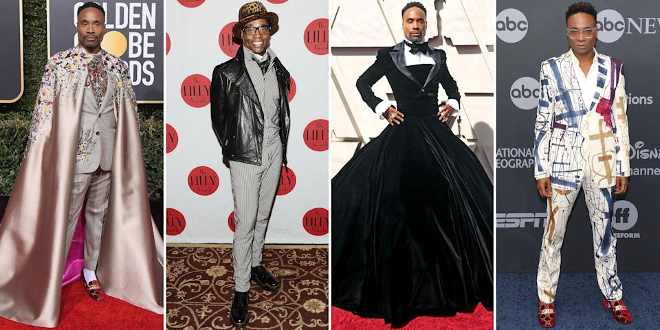 "<p class=""body-dropcap"">Billy Porter doesn't merely walk a red carpet; he stages a performance. Since being catapulted into the limelight with his Emmy Award–winning role in <em>Pose</em><em>,</em> the actor-slash-singer has turned heads at every event he's attended, effectively changing the rules of propriety. He has sashayed in front of photographers flaunting gender-fluid ensembles—from voluminous ball gowns and feathered headpieces to embroidered capes and colorful suits that are unlike any other—bucking traditional tuxedos and three-piece suits. Indeed, he's proved that men, too, can put on a show. </p><p class=""body-text"">Though he piles on the camp and the theatrics, he also brings a touch of elegance to his appearances: The jackets always fit just right, the skirts are always the perfect length, and the accessories never detract from the overall outfit—unless <a href=""https://www.harpersbazaar.com/celebrity/red-carpet-dresses/a30667737/billy-porter-grammys-2020-red-carpet/"" rel=""nofollow noopener"" target=""_blank"" data-ylk=""slk:it's by design"" class=""link rapid-noclick-resp"">it's by design</a>. With all this in mind, Porter is a pioneer of red-carpet dressing, a bona fide artist who always brings the unexpected.</p><p>Ahead, we track the star's most memorable fashion moments. </p><hr>"