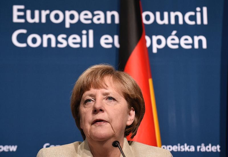 German Chancellor Angela Merkel, pictured here in Brussels on April 23, 2015, faces embarrassing reports of German spying on European firms on behalf of the United States (AFP Photo/John Thys)