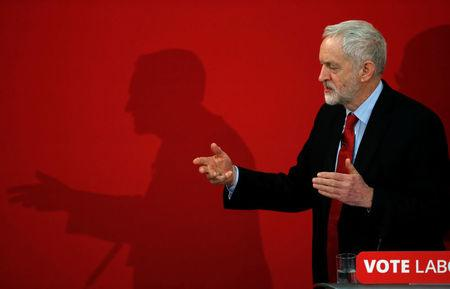 The leader of Britain's opposition Labour Party, Jeremy Corbyn, gestures as he delivers a speech at the official launch of Labour's local election campaign in Manchester, Britain, March 22, 2018. REUTERS/Phil Noble