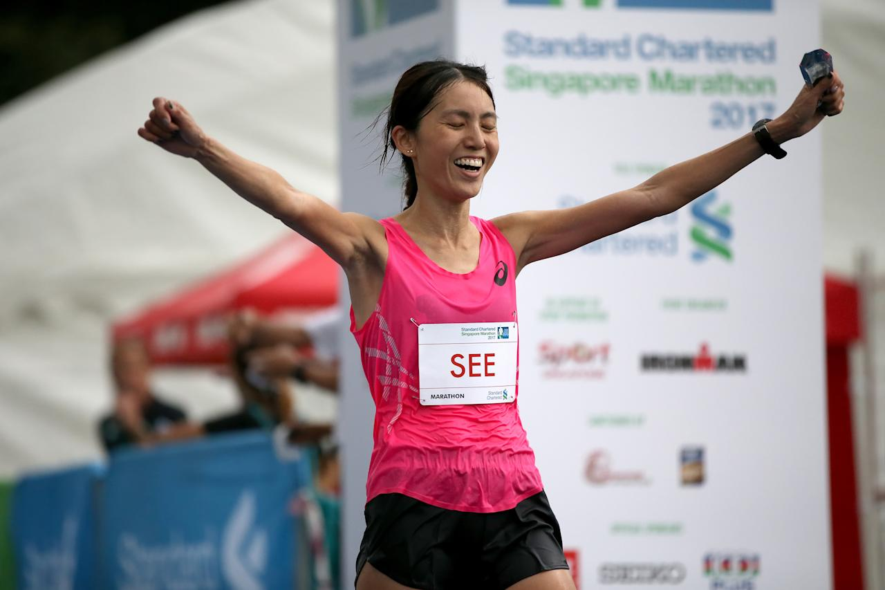 <p>Completing her run with an official time of 03:11:08 and securing an overall ranking of 10th in the elite women's category, Rachel See was the first female runner from Singapore to complete the full marathon.<br /> Photo: Standard Chartered Singapore Marathon 2017 </p>