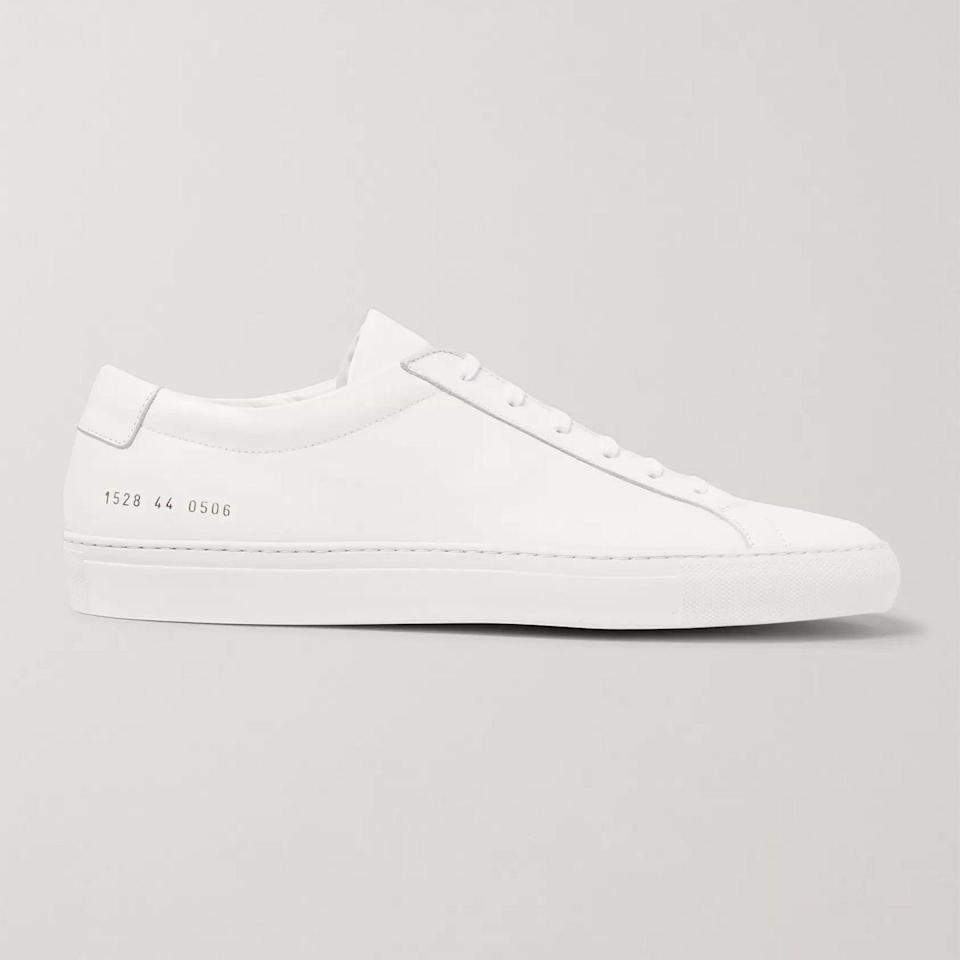 """<p><strong>Original Achilles Sneakers</strong></p><p>mrporter.com</p><p><strong>$410.00</strong></p><p><a href=""""https://go.redirectingat.com?id=74968X1596630&url=https%3A%2F%2Fwww.mrporter.com%2Fen-us%2Fmens%2Fproduct%2Fcommon-projects%2Fshoes%2Flow-top-sneakers%2Foriginal-achilles-leather-sneakers%2F3024088872901549&sref=https%3A%2F%2Fwww.esquire.com%2Fstyle%2Fmens-accessories%2Fadvice%2Fg2538%2Fluxury-sneaker-brands-worth-spending-money%2F"""" rel=""""nofollow noopener"""" target=""""_blank"""" data-ylk=""""slk:Shop Now"""" class=""""link rapid-noclick-resp"""">Shop Now</a></p><p>Common Projects is patient zero for the current minimal-luxury-sneakers craze. The Achilles has become a holy grail for recovering Jordan fiends as much as it has for aspiring fashion nerds. Its cross-cultural appeal predated the muddled """"mix everything together"""" world of modern menswear, and it looks good with just about everything. Amongst a sea of competitors, it's a shoe has achieved that covetable """"timeless"""" status.</p>"""