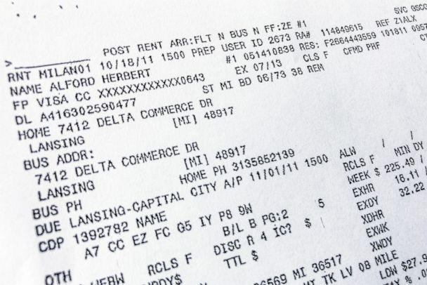 PHOTO: A copy of a Herbert Alford's Hertz rental car receipt. (Nick King/Lansing State Journal via USAToday Network)