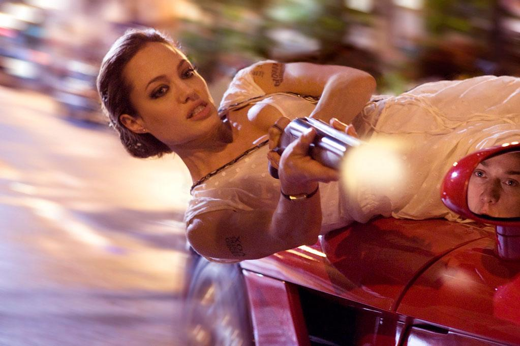"""<a href=""""http://movies.yahoo.com/movie/contributor/1800019275"""">Angelina Jolie</a>, """"<a href=""""http://movies.yahoo.com/movie/1809878244/info"""">Wanted</a>""""<br><br>As Fox, an emotionally damaged elite assassin assigned to mentor <a href=""""http://movies.yahoo.com/movie/contributor/1808470835"""">James McAvoy's</a> meek cubicle worker, Angelina Jolie proves why she's the big screen's ultimate slayer by butchering baddies left and right with the help of her awesome arsenal and deadly Dodge Viper SRT-10."""