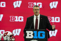 Wisconsin head coach Paul Chryst talks to reporters during an NCAA college football news conference at the Big Ten Conference media days, at Lucas Oil Stadium in Indianapolis, Friday, July 23, 2021. (AP Photo/Michael Conroy)