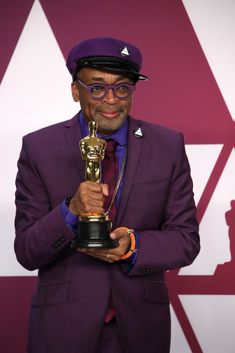 Spike Lee holds his first Academy Award for