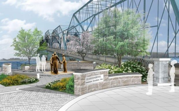 How the Ed Johnson memorial on the Walnut Street Bridge in Chattanooga, Tenn., will look when it is complete. (The Ed Johnson Project - image credit)