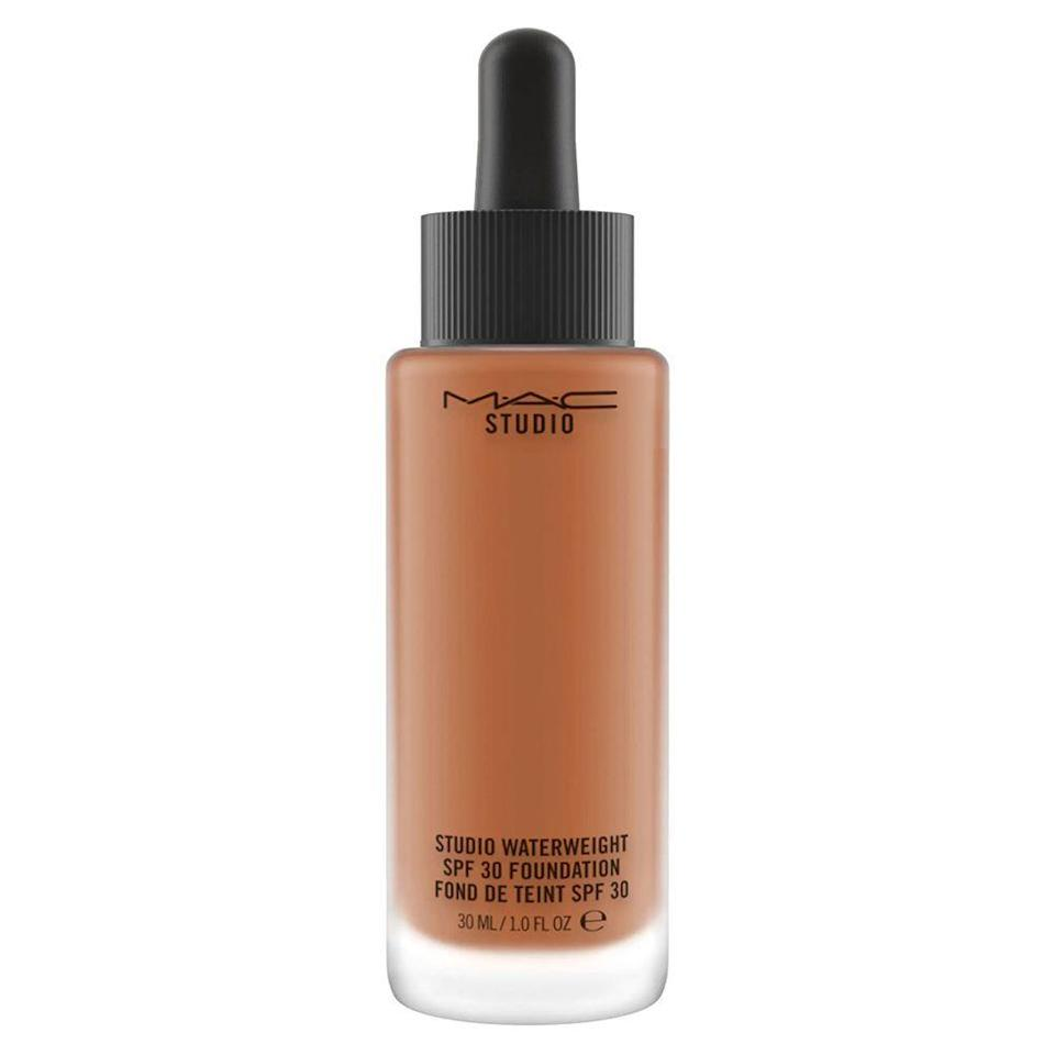 """<p><strong>M.A.C. Cosmetics</strong></p><p>nordstrom.com</p><p><strong>$37.00</strong></p><p><a href=""""https://go.redirectingat.com?id=74968X1596630&url=https%3A%2F%2Fwww.nordstrom.com%2Fs%2Fmac-studio-waterweight-liquid-foundation-spf-30%2F4148419&sref=https%3A%2F%2Fwww.bestproducts.com%2Fbeauty%2Fg37048952%2Fdewy-foundations%2F"""" rel=""""nofollow noopener"""" target=""""_blank"""" data-ylk=""""slk:Shop Now"""" class=""""link rapid-noclick-resp"""">Shop Now</a></p><p>M.A.C. Cosmetics is usually known for their iconic lipsticks and heavier complexion products, but we're loving their """"waterweight"""" foundation. This SPF 30 foundation has a slippery, inky formula that blends seamlessly on your complexion, and it immediately dries down into a radiant sheer coverage veil over your skin. Its buildable formula can also be layered to create a medium coverage finish, so it's all customizable depending on your taste.</p><p>While it's formula is impressive, their 24-shade color range is quite disappointing, so people with deeper skin tones may want to opt for another foundation.</p>"""