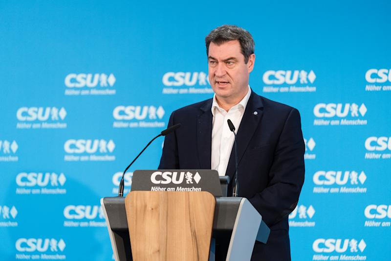 16 March 2020, Bavaria, Munich: Markus Söder (CSU), party chairman and Minister President of Bavaria, speaks at a press conference at the CSU headquarters on the results of the local elections in Bavaria. Photo: Matthias Balk/dpa (Photo by Matthias Balk/picture alliance via Getty Images)