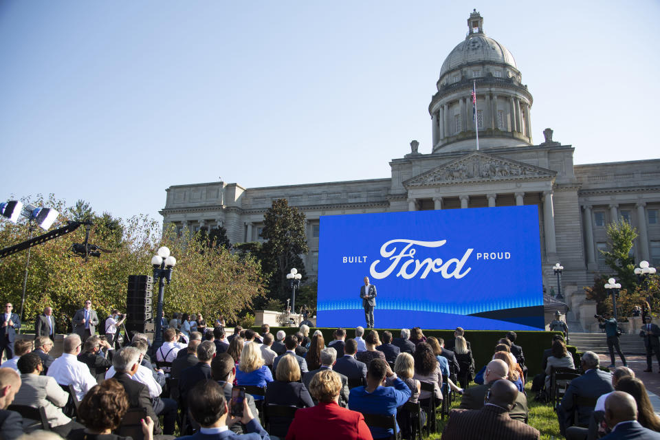 Executive Chairman of Ford William Clay Ford Jr. speaks during a news conference in front of the capital in Frankfort, Ky., Tuesday, Sept. 28, 2021, to announce that Ford is going to build a battery manufacturing plant in Hardin County. (Silas Walker/Lexington Herald-Leader via AP)