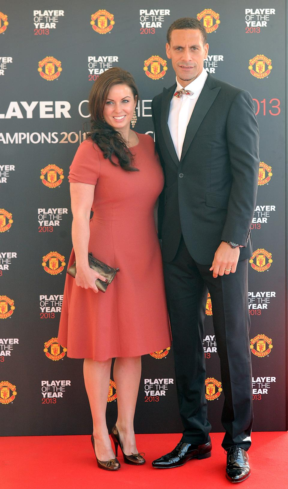 Manchester United's Rio Ferdinand with wife Rebecca Ellison arrive for the Manchester United Player of the Year Awards at Old Trafford, Manchester.