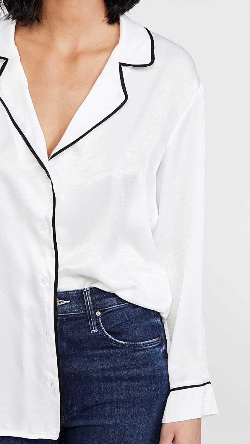 <p>Yes, you can totally wear this <span>BB Dakota Satin PJ Button Up Top</span> ($34) to go out.</p>