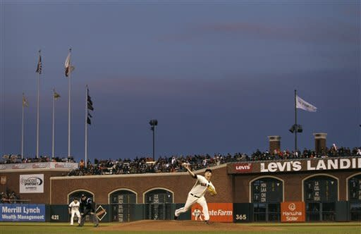 San Francisco Giants pitcher Matt Cain throws to a Miami Marlins batter during the fourth inning of a baseball game in San Francisco, Tuesday, May 1, 2012. (AP Photo/Jeff Chiu)