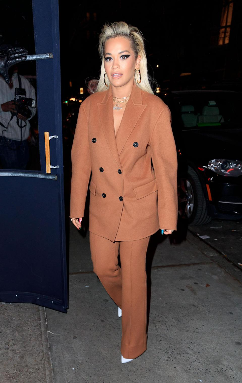 <p>Singer Rita Ora was spotted in a winter-ready co-ord while out and about in New York on January 16. BRB, we're currently on the hunt for a similar ensemble. <em>[Photo: Getty]</em> </p>
