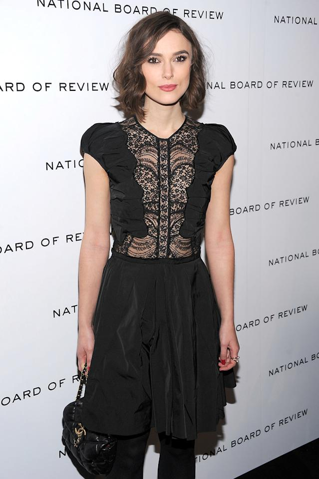 "Keira Knightley, who was first nominated for a Golden Globe in 2005, for ""Pride and Prejudice,"" stepped out in a strategically sheer Nina Ricci dress for the 2011 National Board of Review Awards gala on January 10, 2012."