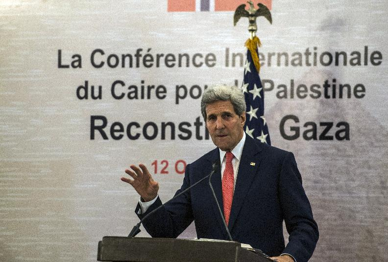 US Secretary of State John Kerry gives a press conference as part of the Gaza Donor Conference in Cairo on October 12, 2014 (AFP Photo/Khaled Desouki)