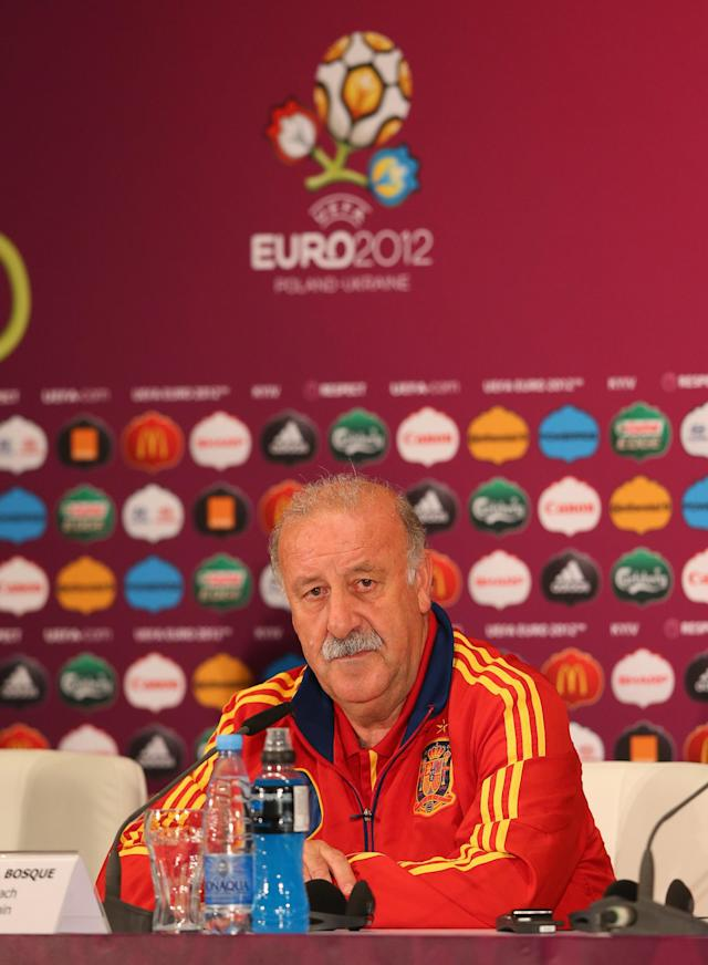 KIEV, UKRAINE - JUNE 30: In this handout image provided by UEFA, Vicente del Bosque the coach of Spain talks to the media during a press conference ahead of the UEFA EURO 2012 final against Italy at the Olympic Stadium on June 30, 2012 in Kiev, Ukraine. (Photo by Handout/UEFA via Getty Images)