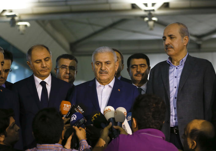 <p>Turkey's Prime Minister Binali Yildirim speaks to the press at the Ataturk airport in Istanbul, Turkey, following a multiple suicide bombing, June 29, 2016. (REUTERS/Murad Sezer) </p>