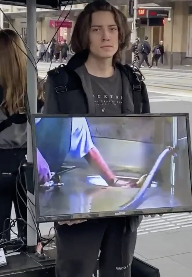 This young man smirked before shaking his head at Tate and turning away. Source: TikTok/harry.tate