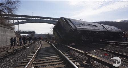 A still image taken from a MTA (Metropolitan Transportation Authority) video shows Hudson Line derailment recovery operations in New York