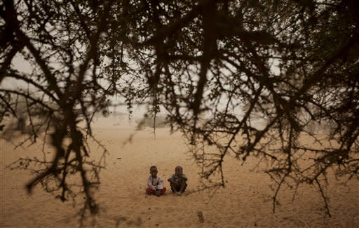 Two Chadian boys sit down on the sand together next to a tree in Tchyllah, a desert village in the Sahel belt of Chad, Thursday, April 19, 2012. UNICEF estimates that 127,000 children under 5 in Chad's Sahel belt will require lifesaving treatment for severe acute malnutrition this year, with an estimated 1 million expected throughout the wider Sahel region of West and Central Africa in the countries of Niger, Nigeria, Mali, Chad, Burkina Faso, Cameroon, Senegal and Mauritania. The organization says the current food and nutrition crisis stems from scarce rainfalls in 2011, which caused poor harvests and livestock production, though the situation in Chad has also been exacerbated by an influx of Chadians returning from Libya as a result of the conflict there. (AP Photo/Ben Curtis)