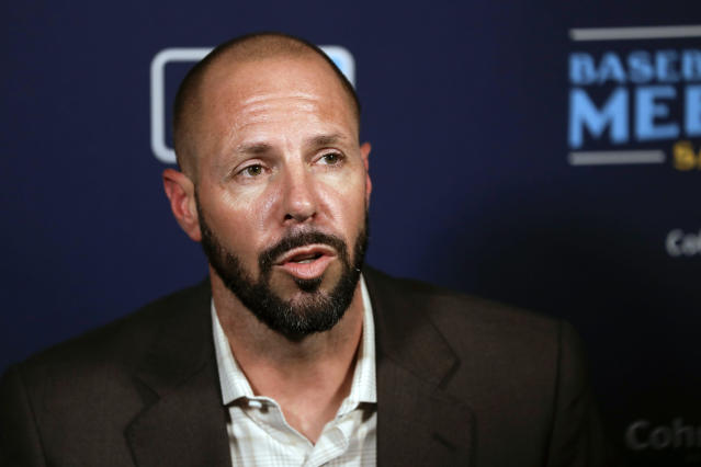 San Diego Padres manager Jayce Tingler speaks during the Major League Baseball winter meetings Wednesday, Dec. 11, 2019, in San Diego. (AP Photo/Gregory Bull)