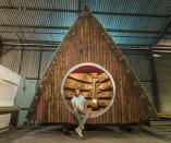 <p>UNIQUE:<br>Boat Pod – owned by Barnaby Dearsly in Exeter, Devon (Picture: Shed of the Year) </p>