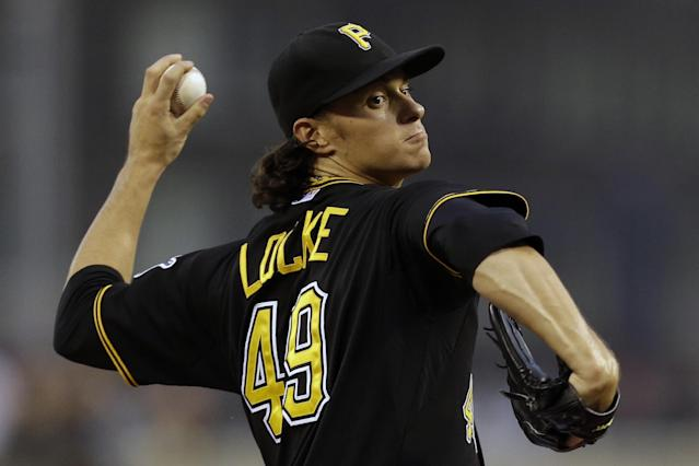 Pittsburgh Pirates starting pitcher Jeff Locke delivers during the first inning of a baseball game against the Chicago Cubs in Pittsburgh, Thursday, Sept. 12, 2013. (AP Photo/Gene J. Puskar)