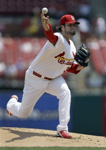 St. Louis Cardinals starting pitcher Lance Lynn throws during the first inning of a baseball game against the Pittsburgh Pirates Saturday, June 30, 2012, in St. Louis. (AP Photo/Jeff Roberson)