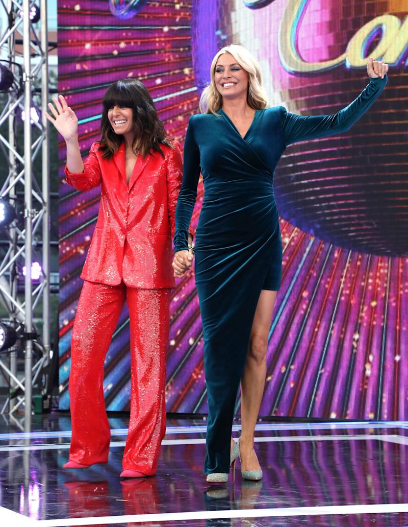 "LONDON, ENGLAND - AUGUST 26: Hosts Claudia Winkleman and Tess Daly attend the ""Strictly Come Dancing"" launch show red carpet at Television Centre on August 26, 2019 in London, England. (Photo by Lia Toby/Getty Images)"