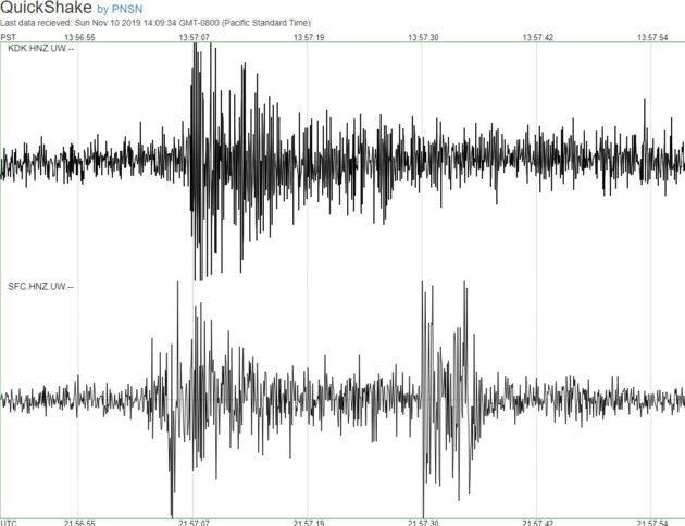 """Seismic readings from the Pacific Northwest Seismic Network's QuickShake website show how the ground shook when the Sounders scored their third goal in the second half. The seismometer installed inside CenturyLink Field, on the lower half of the image, appeared to register a fan-generated """"aftershock"""" as well. (PNSN Graphic)"""