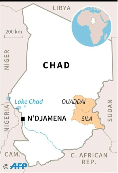 Map of Chad locating the eastern provinces of Sila and Ouaddai. (AFP Photo/)