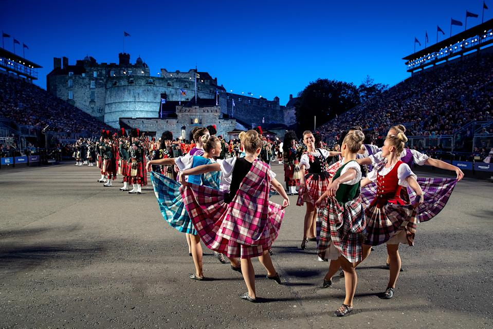 Image of the Tattoo Dance Company, performing traditional Highland dance alongside The Massed Pipes and Drums at the 2019 performance of The Royal Edinburgh Military Tattoo (Picture: UK MOD/Crown 2019)
