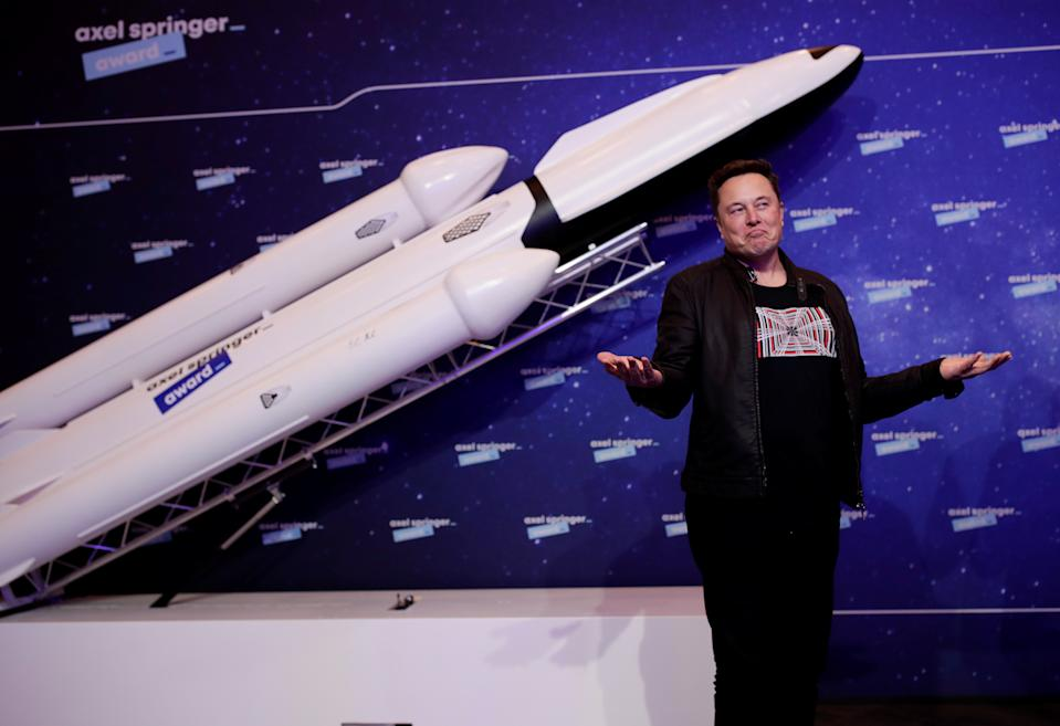 Elon Musk said that the satellite, dubbed Doge-1, would be the first-ever crypto in space and the 'first meme in space'. Photo: Hannibal Hanschke/Reuters