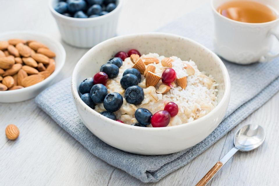 """<p>Some of my favorite breakfast-in-a-hurry options are combos of these delicious foods — especially since the idea of """"making"""" breakfast can sound daunting (compared to the idea of simply <em>organizing </em>it, right?). Here are some ideas from my book, <em><a href=""""https://www.amazon.com/gp/product/1538747456?tag=syn-yahoo-20&ascsubtag=%5Bartid%7C2141.g.35362654%5Bsrc%7Cyahoo-us"""" rel=""""nofollow noopener"""" target=""""_blank"""" data-ylk=""""slk:Dressing on the Side"""" class=""""link rapid-noclick-resp"""">Dressing on the Side</a>:</em></p><p><em>• </em>2 frozen 100% whole-grain waffles with 1 tablespoon peanut butter, plus 1 cup berries </p><p><em>• </em>2 eggs on a slice of 100% whole-grain toast with 1⁄2 of an avocado and 1⁄2 cup tomatoes; add salt and pepper to taste</p><p><em>• </em>1⁄2 to 1 cup cooked oatmeal with 1⁄2 cup milk of choice, plus 2-3 tablespoons mixed nuts (or 1-2 tablespoons nut butter), plus 1 piece of fruit</p><p><em>• </em>1⁄2 to 1 cup Greek yogurt with 1–2 cups berries of choice, plus 2 tablespoons of nuts</p><p><em>• </em>1⁄2 to 1 roasted (<a href=""""https://www.goodhousekeeping.com/food-recipes/cooking/g5049/how-to-cook-sweet-potatoes/"""" rel=""""nofollow noopener"""" target=""""_blank"""" data-ylk=""""slk:or nuked!"""" class=""""link rapid-noclick-resp"""">or nuked!</a>) sweet potato with 1⁄2 tablespoon nut butter, plus sliced apple/pear/banana</p><p><em>• </em>Last night's leftover veggies, plus 2 hard-boiled eggs, 1 100% whole-grain English muffin with 1 ounce cheese and sliced tomatoes, plus seasoning to taste <strong><br><br>Want even more healthy breakfast ideas? Check out our<em> <a href=""""https://shop.goodhousekeeping.com/good-housekeeping-1200-calories.html"""" rel=""""nofollow noopener"""" target=""""_blank"""" data-ylk=""""slk:1,200 Calories and More"""" class=""""link rapid-noclick-resp"""">1,200 Calories and More</a></em> meal plan and get 28 days' worth of recipes.</strong><br><br></p>"""