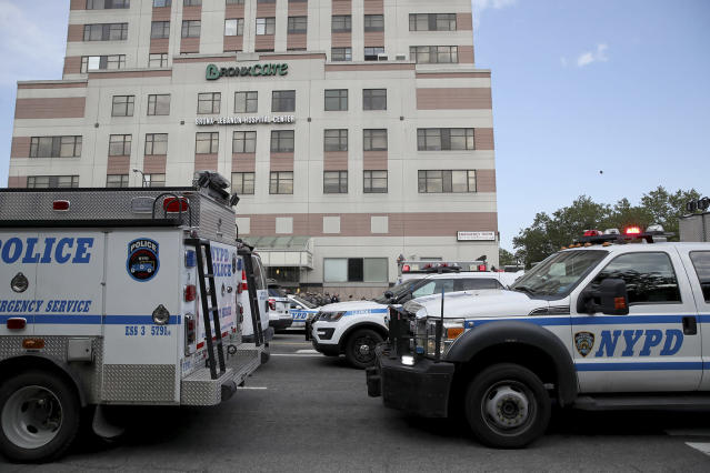 <p>Police vehicles converge on Bronx Lebanon Hospital in New York after a gunman opened fire there on Friday, June 30, 2017. (AP Photo/Mary Altaffer) </p>