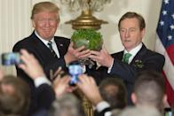 "<p>During the reception of a St. Patrick's Day party, Taoiseach Enda Kenny of Ireland gave POTUS <a href=""https://www.marieclaire.com/politics/g15158809/trump-family-white-house-gifts/"" rel=""nofollow noopener"" target=""_blank"" data-ylk=""slk:a bowl of shamrocks"" class=""link rapid-noclick-resp"">a bowl of shamrocks</a>—for good luck, of course.</p>"