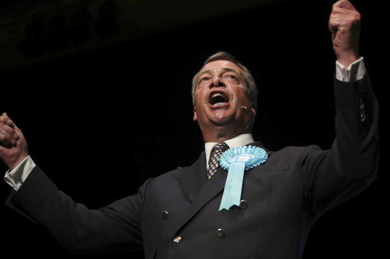 Brexit Party leader Nigel Farage speaks during a Brexit Party rally at the Broadway Theatre in Peterborough, England, Saturday June 1, 2019, ahead of the upcoming by-election. Peterborough is to hold a by-election on June 6 to find a replacement for MP Fiona Onasanya after she lost her seat through a recall petition. (Danny Lawson/PA via AP)