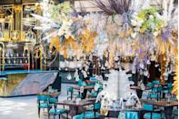"<p>Once the hottest place to be dropped off by a cab, The Savoy's iconic turning circle has been transformed into a whisky and oyster lover's dream - <a href=""https://www.thesavoylondon.com/restaurant/solas/"" rel=""nofollow noopener"" target=""_blank"" data-ylk=""slk:Solas"" class=""link rapid-noclick-resp"">Solas</a>. Complete with a dramatic floral and crystal chandelier comprised of seemingly floating vintage decanters and golden oyster shells, Solas gives you all the old school art deco glamour of The Savoy with a bevy of fresh seafood and Bowmore whisky to boot. </p><p>Snuggle up in a heritage check blanket while you sip on aged whisky (out of an oyster shell no less), warm yourself with a steaming bowl of chowder and a platter of poached lobster, and take in the sheer glamour of your surroundings.</p>"
