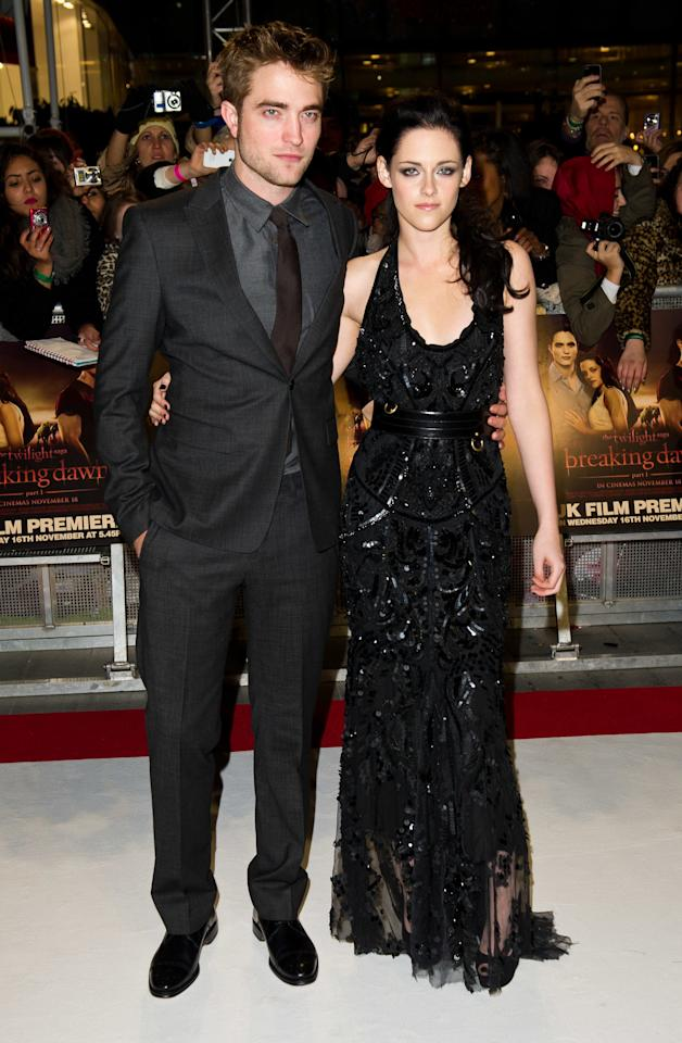 "RPattz and K. Stew, as they were affectionately known, began their romance <a href=""https://people.com/movies/twilight-franchise-craziest-quotes/"">on the set of <em>Twilight</em></a>, in which Stewart played Bella Swan, a girl in love with Pattinson's character, Edward Cullen, who happens to be a vampire.   They were first spotted getting cozy in 2009 at a Kings of Leon concert. The pair didn't publicly define their relationship until October 2011, but that didn't stop fans from <a href=""https://people.com/movies/kristen-stewart-opens-up-about-first-love-robert-pattinson-i-thought-that-was-it/"">speculating about their </a>status throughout 2010.  In 2012, Stewart was photographed kissing her <em>Snow White and the Huntsman</em> director Rupert Sanders. She said in a public apology, ""I'm deeply sorry for the hurt and embarrassment I've caused to those close to me and everyone this has affected. This momentary indiscretion has jeopardized the most important thing in my life, the person I love and respect the most, Rob. I love him, I love him, I'm so sorry.""  The pair attempted to stay together, but <a href=""https://people.com/celebrity/kristen-stewart-robert-pattinson-breakup-for-now-source/"">eventually split</a> for good in 2013."