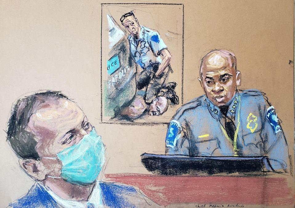 <p>Minneapolis Police Chief Medaria Arradondo answers questions on the sixth day of the trial of former Minneapolis police officer Derek Chauvin (L) for second-degree murder, third-degree murder and second-degree manslaughter in the death of George Floyd in Minneapolis, Minnesota, U.S. April 5, 2021 in this courtroom sketch. </p> (REUTERS/Jane Rosenberg     TPX IMAGES OF THE DAY)