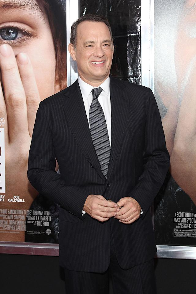 """<a href=""""http://movies.yahoo.com/movie/contributor/1800010392"""">Tom Hanks</a> at the New York City premiere of <a href=""""http://movies.yahoo.com/movie/1810196550/info"""">Extremely Loud and Incredibly Close</a> on December 15, 2011."""