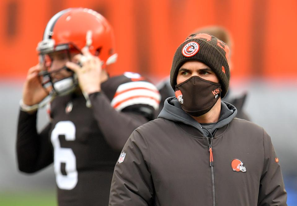CLEVELAND, OHIO - JANUARY 03: Head coach Kevin Stefanski of the Cleveland Browns looks on before the game against the Pittsburgh Steelers at FirstEnergy Stadium on January 03, 2021 in Cleveland, Ohio. (Photo by Jason Miller/Getty Images)