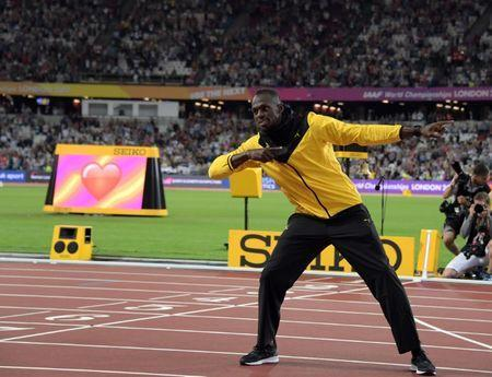 FILE PHOTO: Usain Bolt (JAM) poses during a farewell retirement victory lap during the IAAF World Championships in Athletics at London Stadium at Queen Elizabeth Park. Mandatory Credit: Kirby Lee-USA TODAY Sports