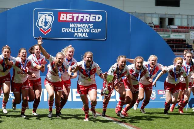 St Helens celebrate after winning the Women's Challenge Cup final by a 34-6 score over York City Knights