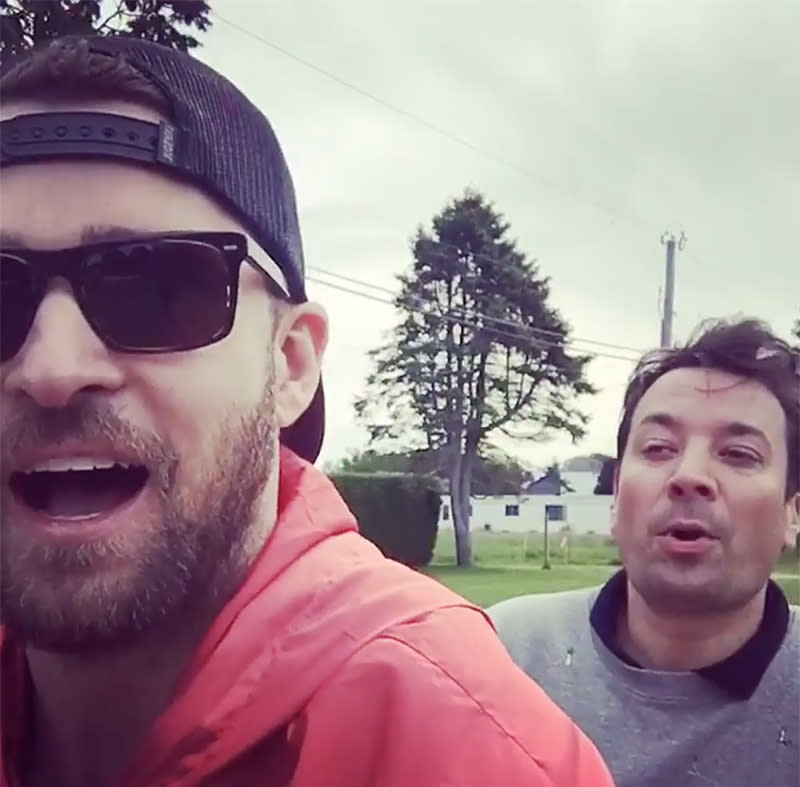 "<p>JT spent part of the weekend hilariously ""bro-biking"" on a tandem bike with his pal Jimmy Fallon in the Hamptons. We imagine the rest of it was spent planning their next sketch for Fallon's <i>Tonight Show</i>. (Photo: <a rel=""nofollow"" href=""https://www.instagram.com/p/BUm8rdbBEP-/"">Justin Timberlake via Instagram</a>) </p>"